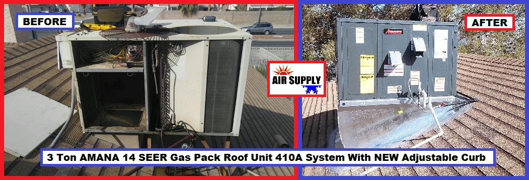 Lambrook 3 Ton AMANA GP roof unit with curb - with words