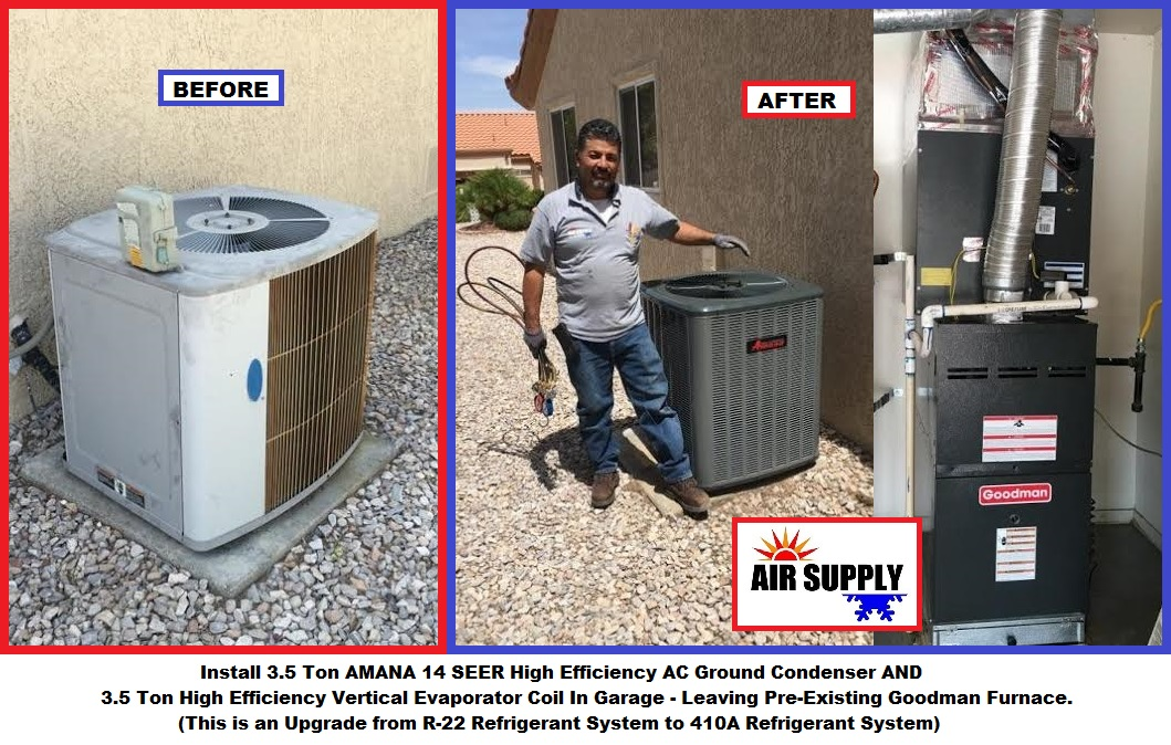 pennystone 3.5 Ton AMANA AC condenser & vertical Evap coil in garage - with words