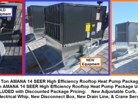 3 Ton & 4 Ton AMANA HP Pkg units 14s R410A - with words
