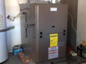 Air Supply York Gas Furnace in Garage 80 Percent high efficiency
