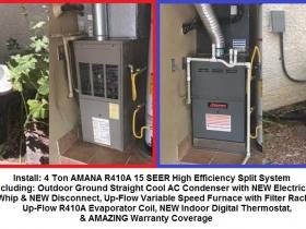 La Villa 4 Ton 15 SEER Amana 410A split system - with words