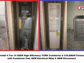 W Hartman 4 ton YORK condenser & Coleman furnace - with words