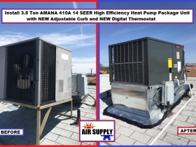 chestnut 3.5 Ton AMANA 14S 410A HP roof unit with curb - with words